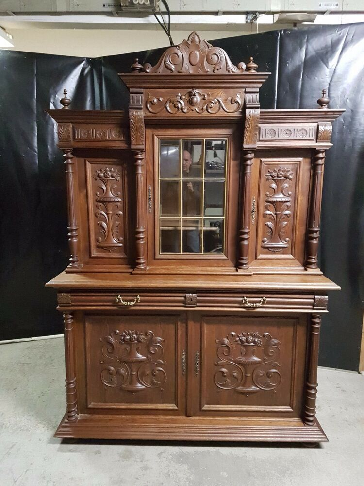buffet aufsatzschrank anrichte schrank gr nderzeit jugendstil antik um 1900 ebay. Black Bedroom Furniture Sets. Home Design Ideas