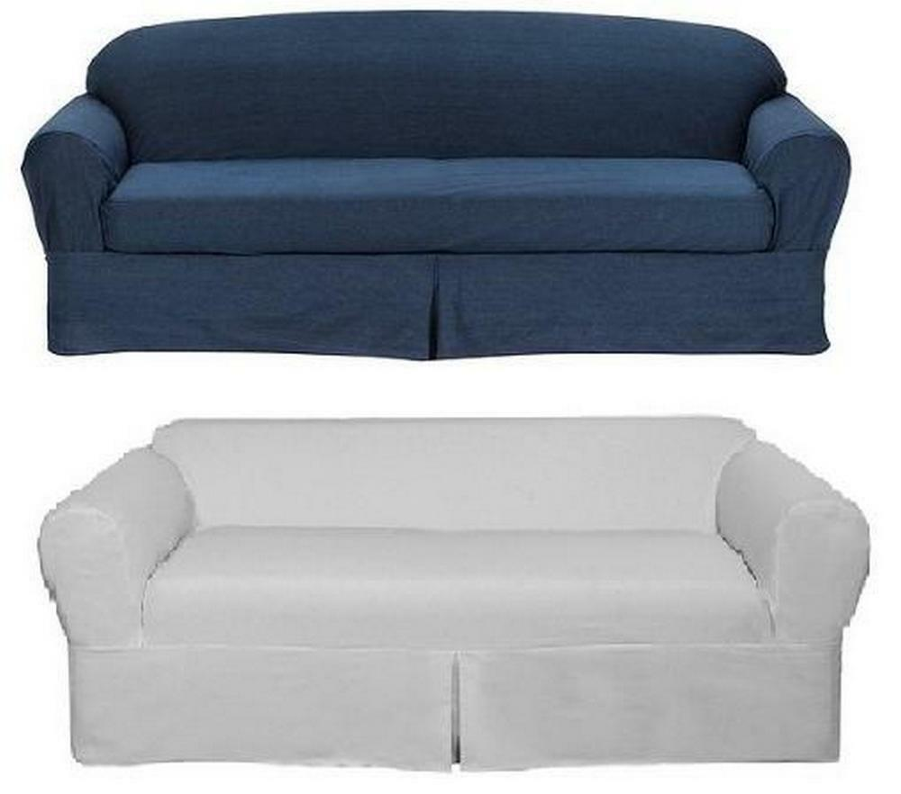 All cotton white or blue denim 2 piece sofa loveseat slipcover slip cover ebay Slipper loveseat