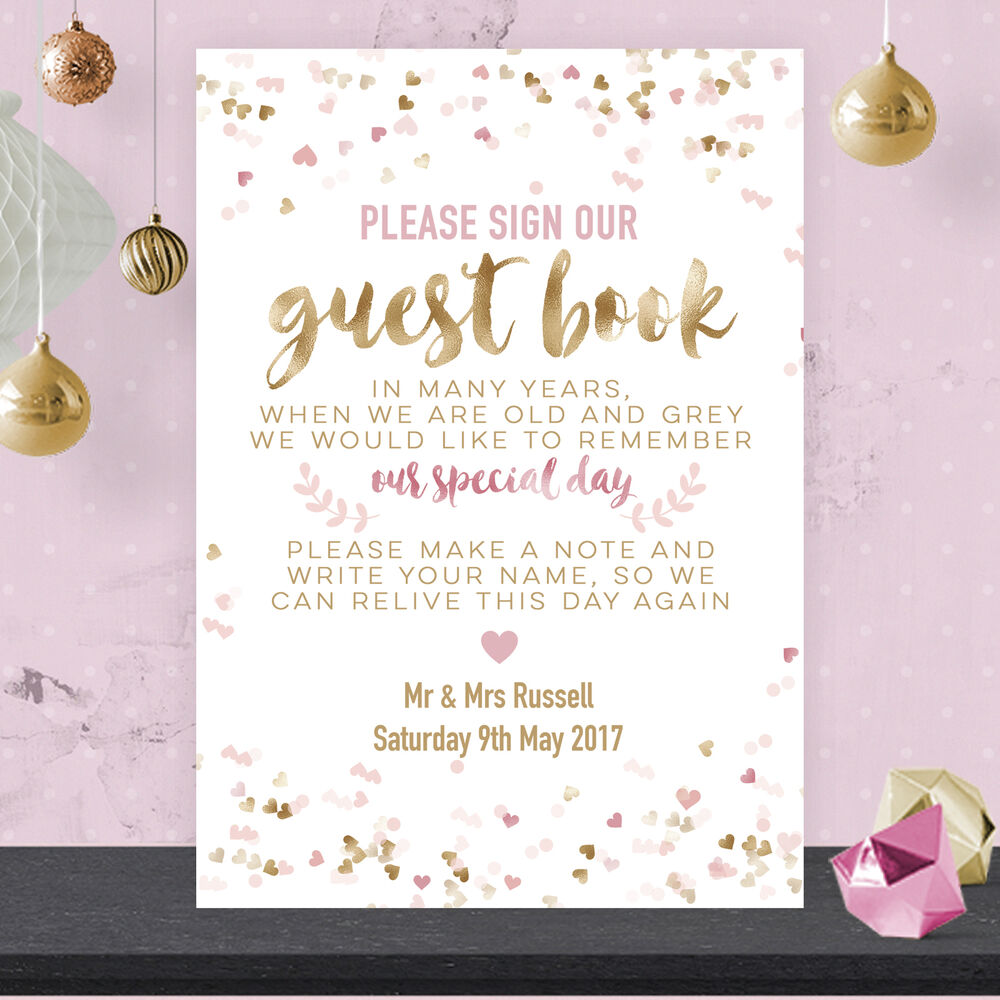 Wedding Photo Books Uk: Personalised Wedding Guest Book Table Sign Poster Poem