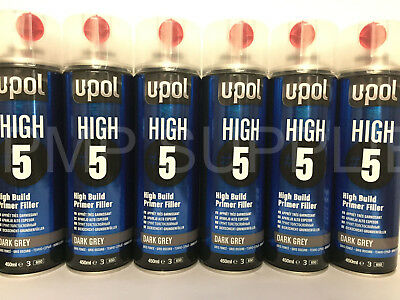 UPOL High 5 High Build Primer Aerosol x2 Boxes GREY x1 Dark Grey x1 Black (24)