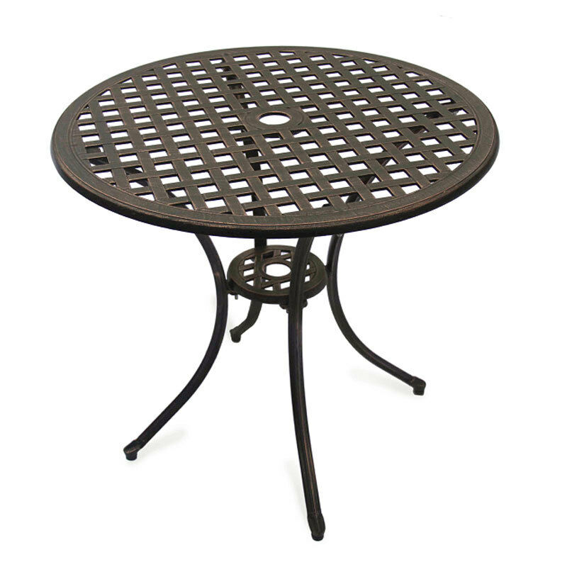 Outdoor Garden Furniture Stamford Round Table Patio Set Parasol Hole Metal