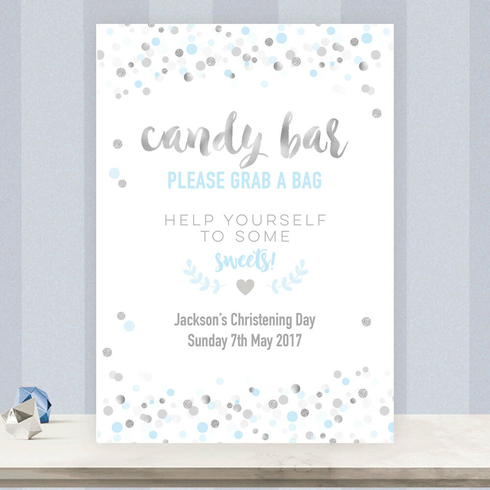 Personalised Candy Bar Buffet Sweet Table Sign Light Blue Silver Confetti Sb2