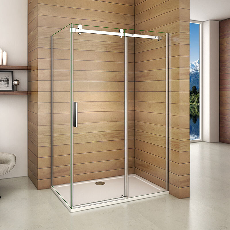 Aica 1950 frameless sliding shower enclosure tray walk in glass screen cubicle ebay - Walk in glass shower enclosures ...