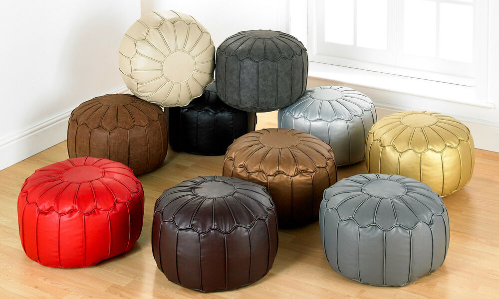 Quality Faux Leather Moroccan Bean Bag Pouffe With Piped