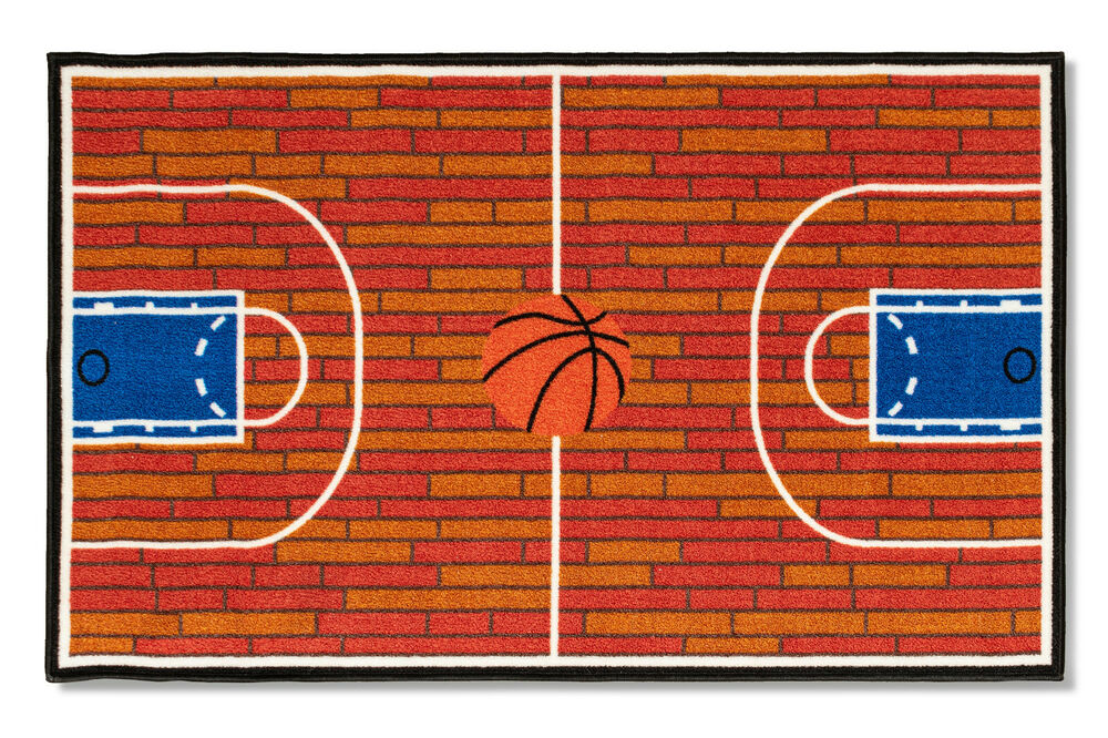 "4'5""x6'9"" Basketball Court Ground Kids Play Area Rug Anti"
