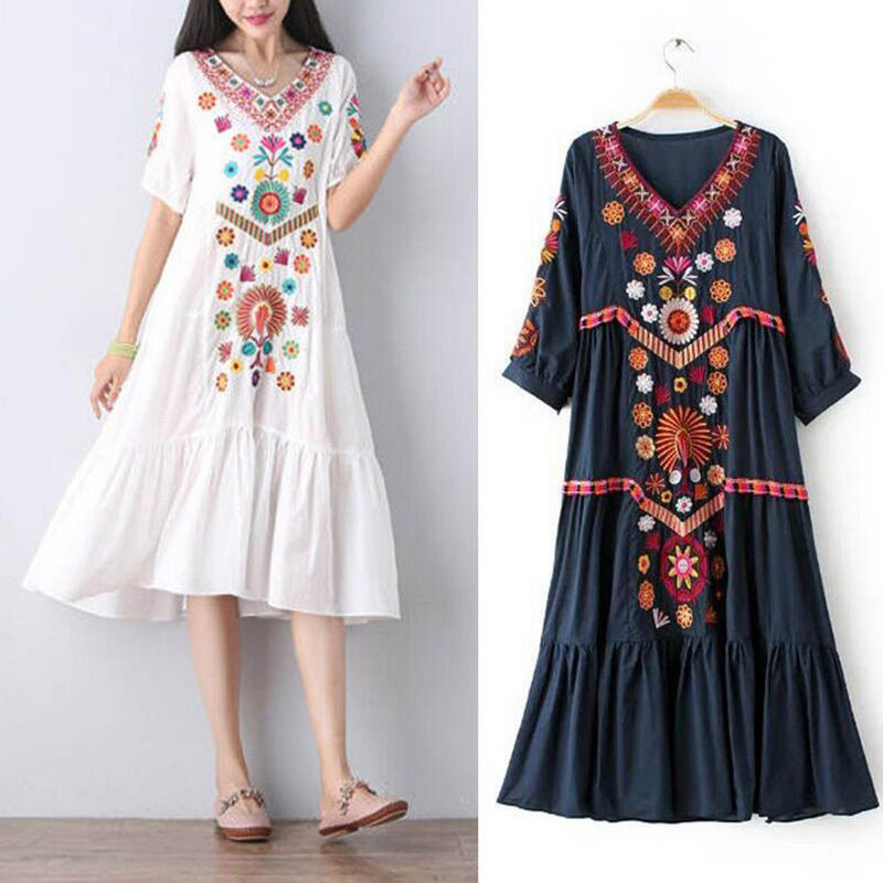 Women Vintage Ethnic Mexican Embroidered Cotton Linen Long Boho Loose Dress Hot | EBay