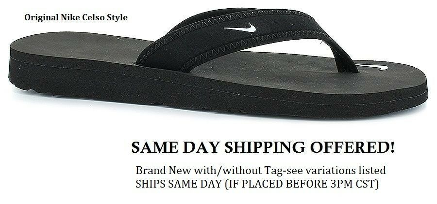 Ships Today New Original Nike Celso Thong Black Flip Flop -2184