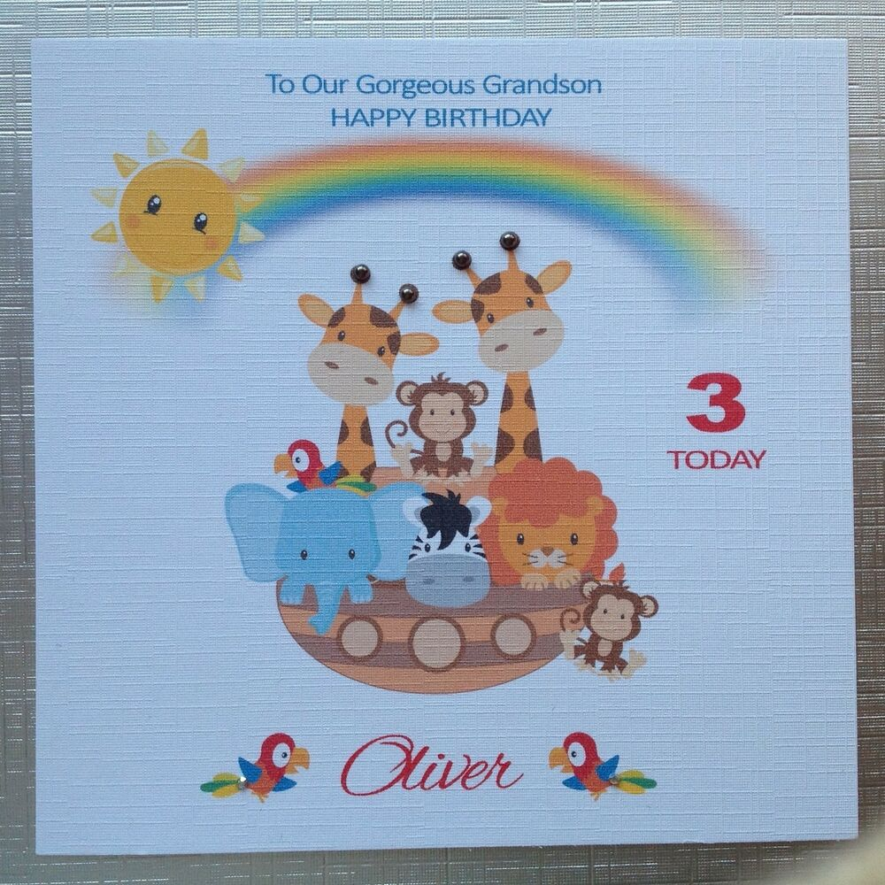 Details About PERSONALISED Handmade BIRTHDAY CARD Grandson Son Grand Daughter 1st 2 3 NOAH