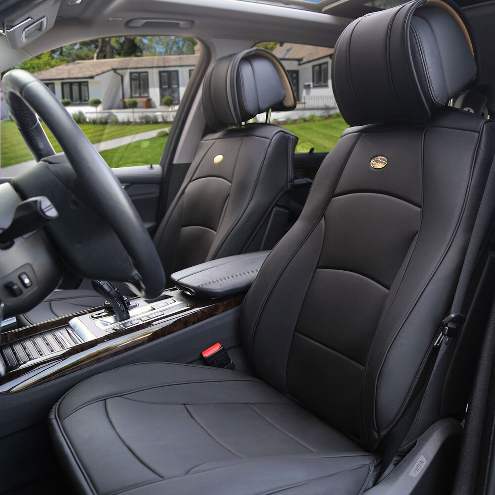 car suv truck pu leather seat cushion covers front bucket seats solid black 842319140776 ebay. Black Bedroom Furniture Sets. Home Design Ideas