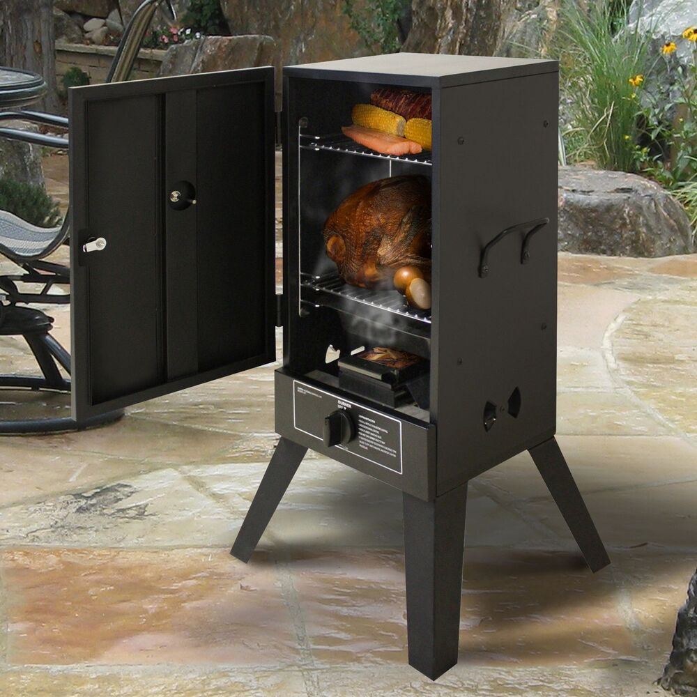 gas smoker grill lp propane vertical outdoor bbq wood chips burner meat smoke ebay. Black Bedroom Furniture Sets. Home Design Ideas