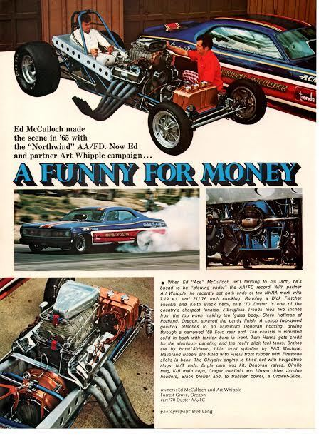 1970 duster funny car drag racing ed mcculloch original article ad ebay. Black Bedroom Furniture Sets. Home Design Ideas