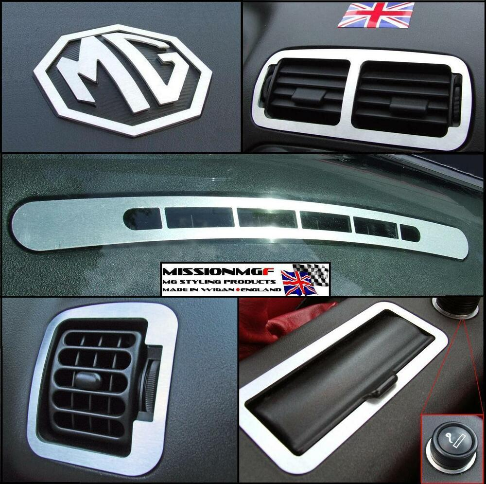 mgf mg tf mgtf laser cut brushed aluminium interior styling pack 10 piece kit ebay. Black Bedroom Furniture Sets. Home Design Ideas