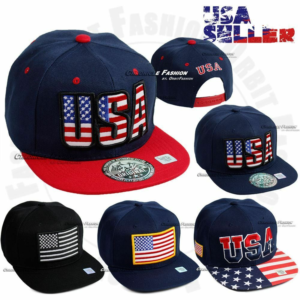 901a61dfc2b Details about USA Baseball Cap Embroidered American Flag Snapback Hat Flat  Brim America US