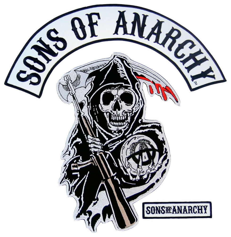 Sons Of Anarchy Text And Arched Reaper Logo Patch Set Ebay