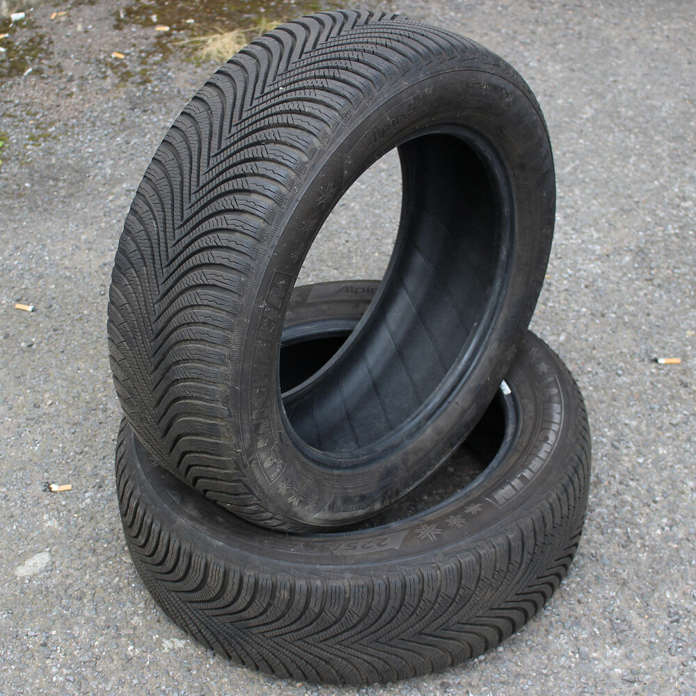2 x michelin alpin 5 225 55 r17 101v xl bsw m s winter tyres partworn 7mm ebay. Black Bedroom Furniture Sets. Home Design Ideas