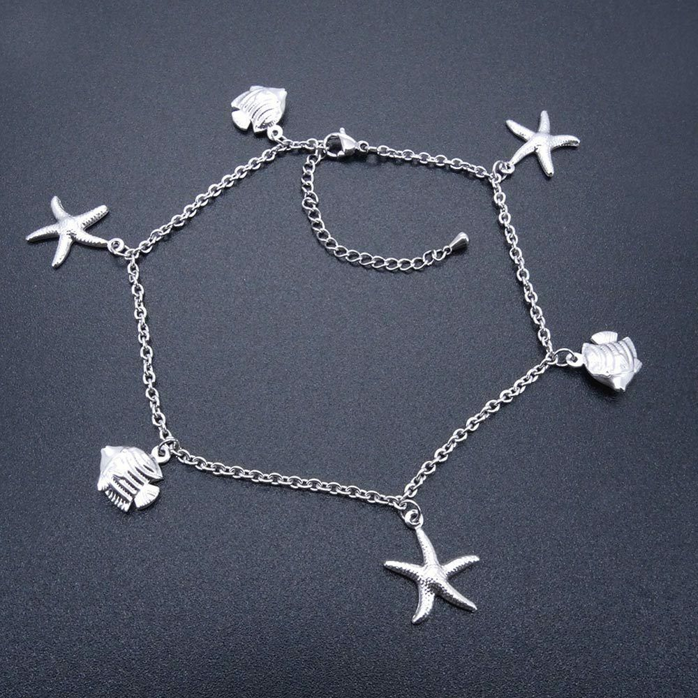 Stainless Steel Anklets Starfish Amp Fish Charm Ankle