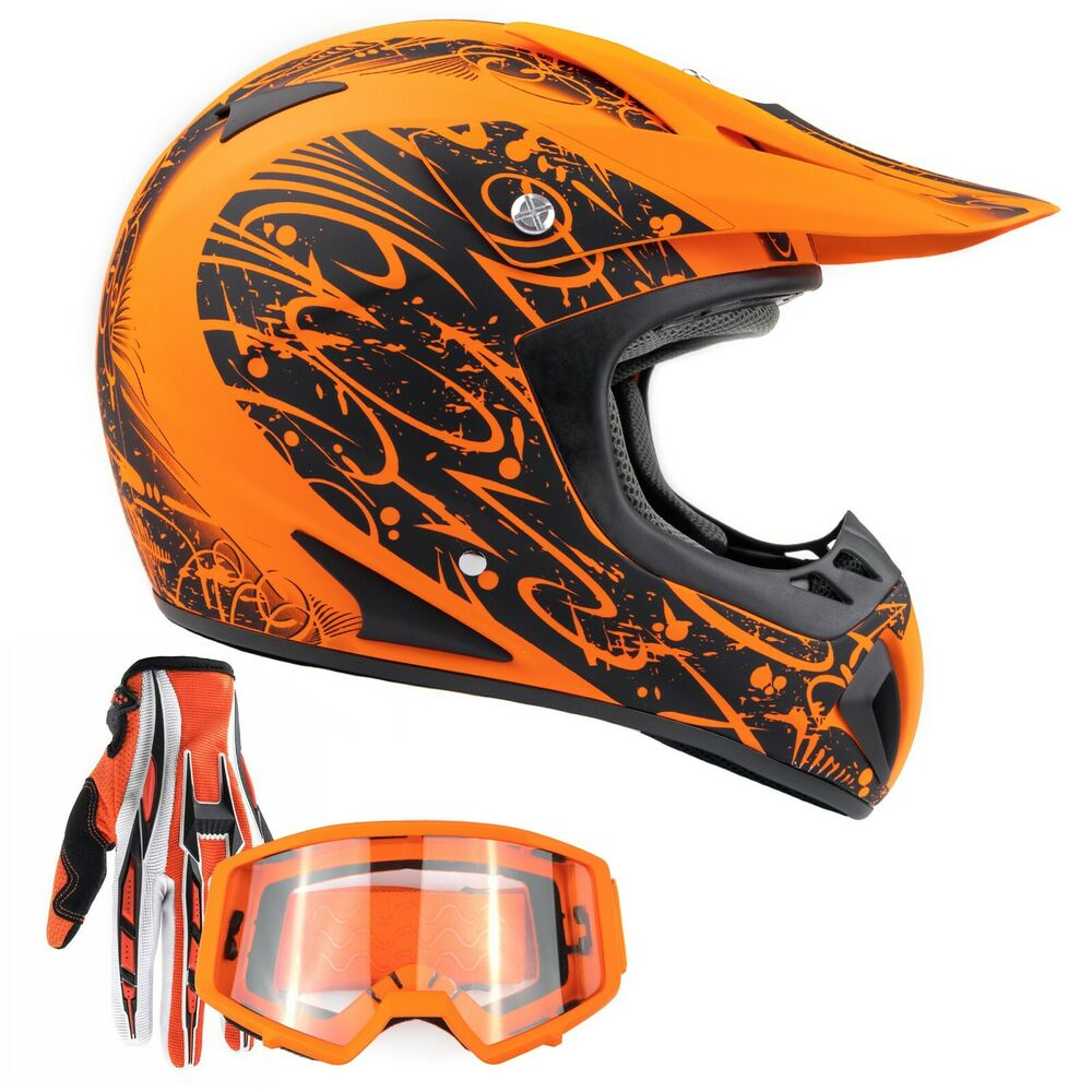 adult orange helmet atv orange gloves goggles dirt bike. Black Bedroom Furniture Sets. Home Design Ideas