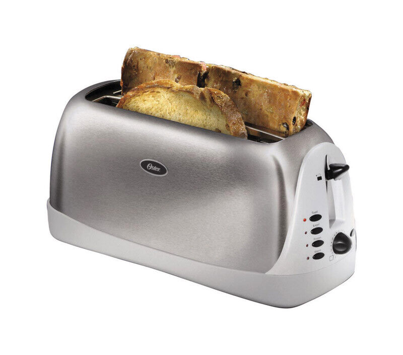 Hamilton Beach Keep Warm Long Slot Toaster: Oster Toaster 4 Slice Long Slot Brushed Stainless Steel