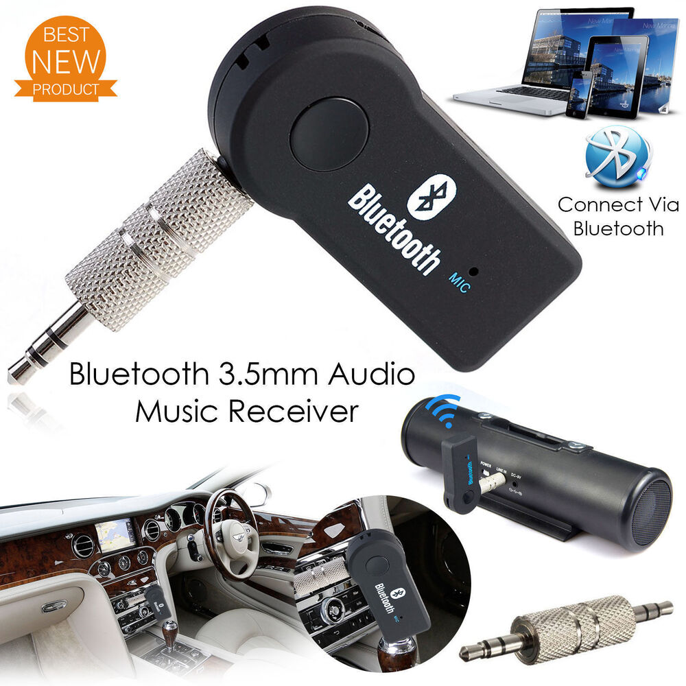 wireless bluetooth aux audio stereo music home car receiver adapter mic 692754001275 ebay. Black Bedroom Furniture Sets. Home Design Ideas