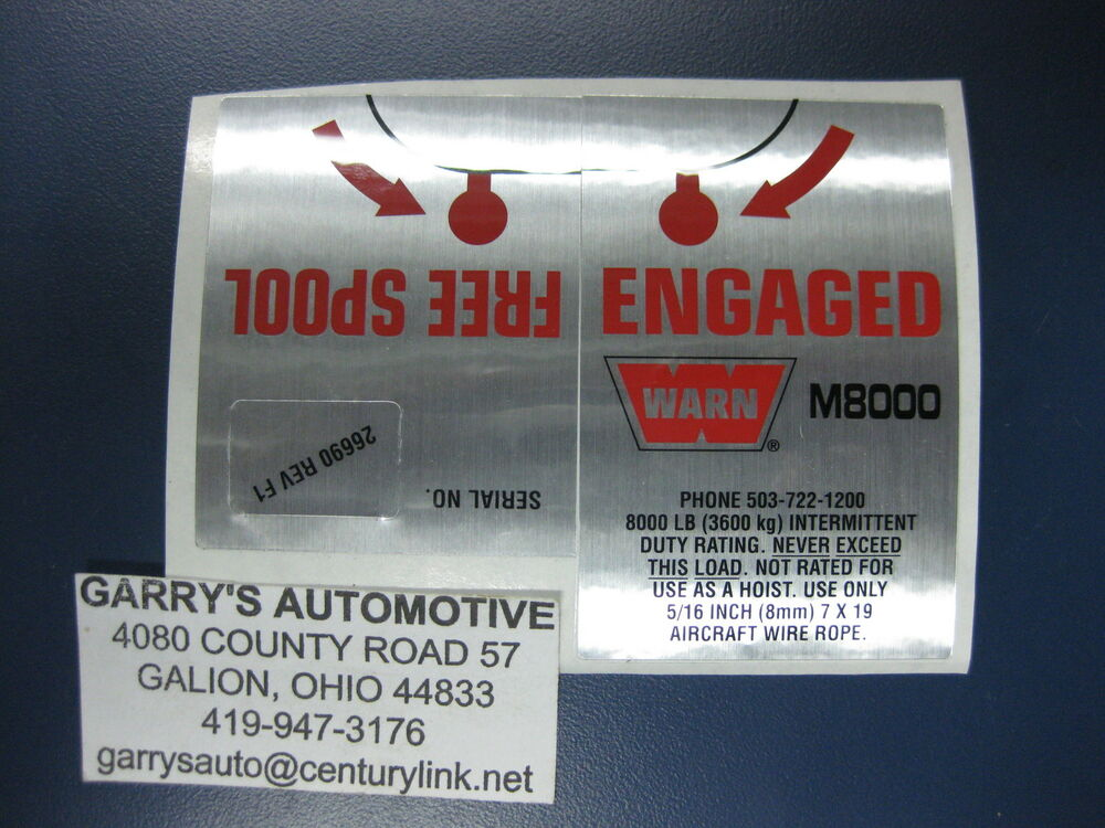 Warn 26690 Winch Replacement Decal Label Kit Set Sticker