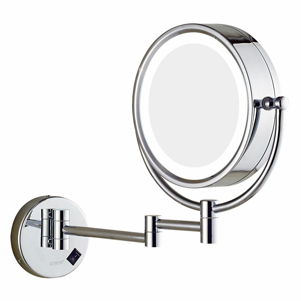 Chrome Wall Mount Led Lighted Makeup Mirror 10x 7x