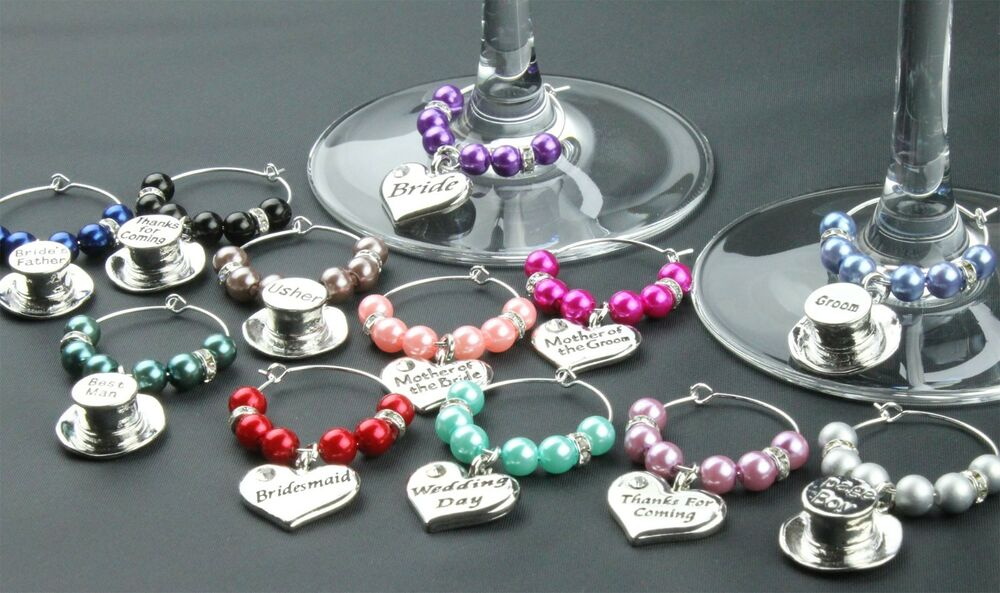 Wine Glass Charms Wedding Table Decorations Favours Purple Diy