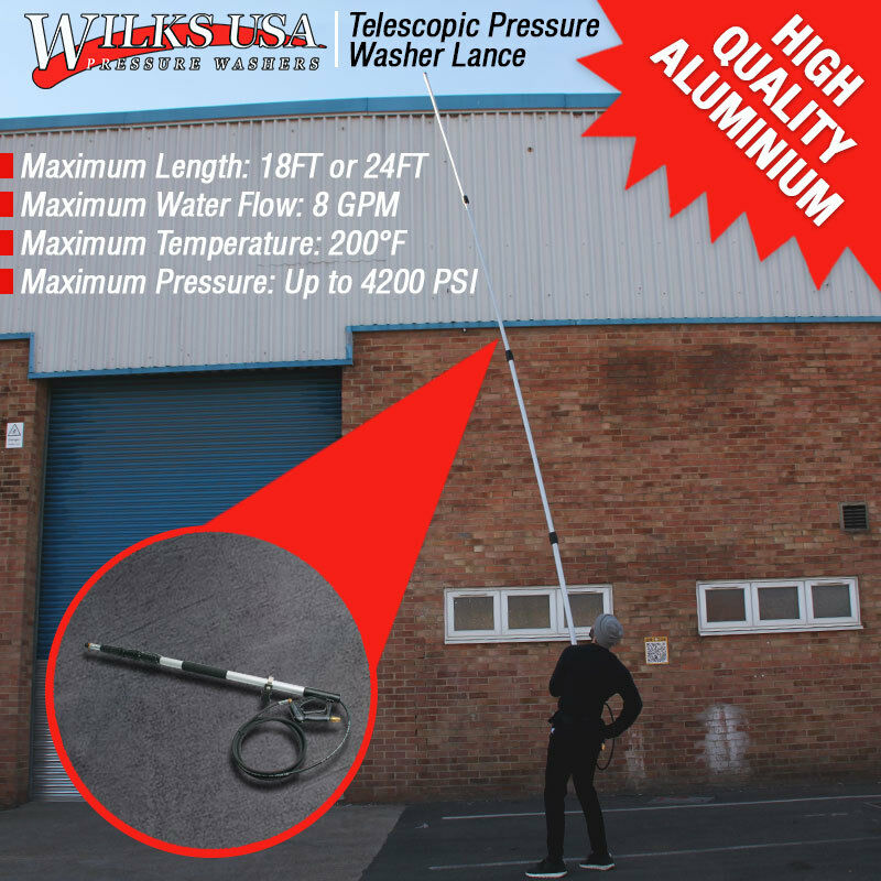 Pressure Washer Lance Telescopic Extendable Gutter