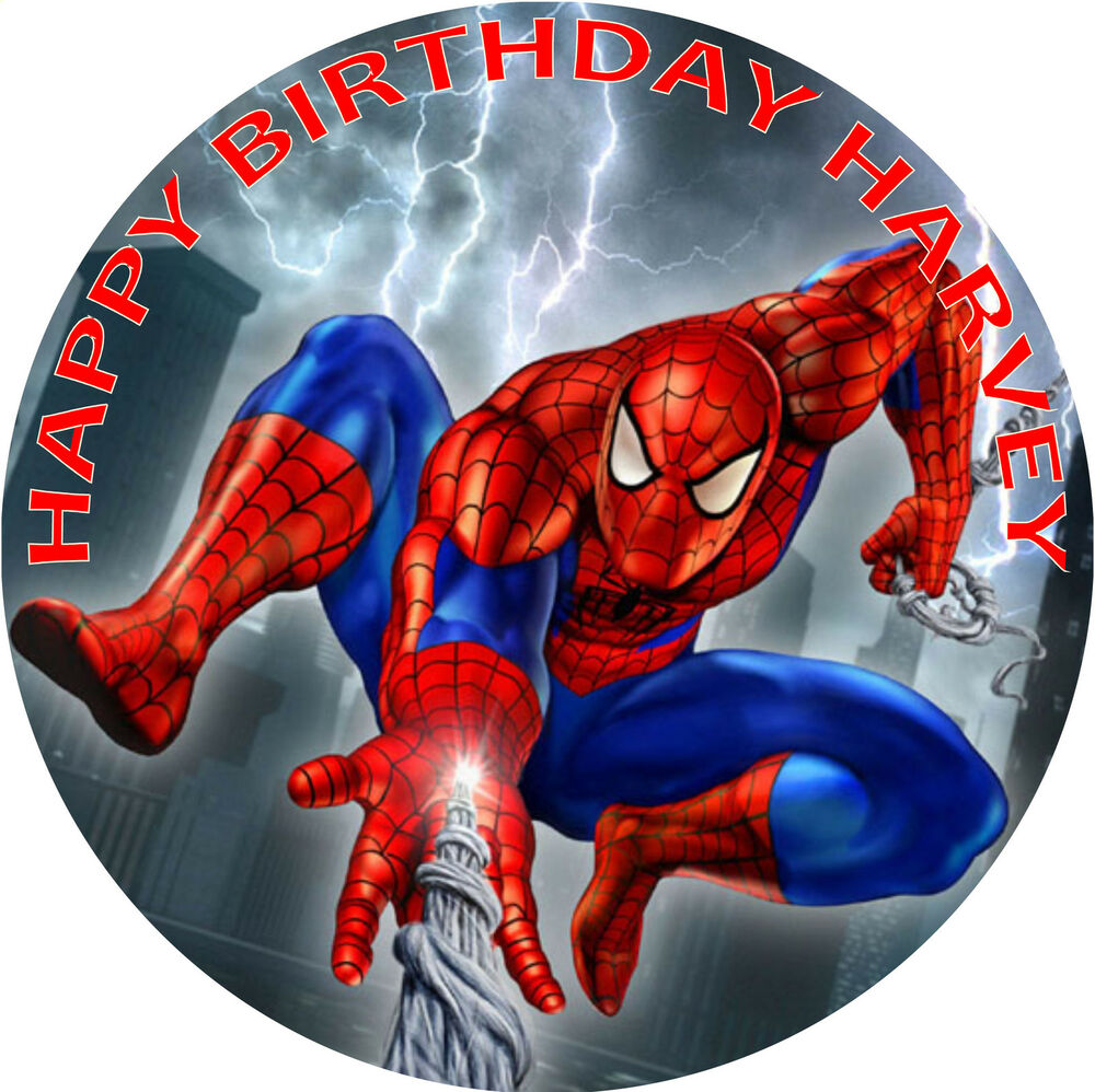spiderman birthday cake edible round birthday cake topper decoration ebay. Black Bedroom Furniture Sets. Home Design Ideas