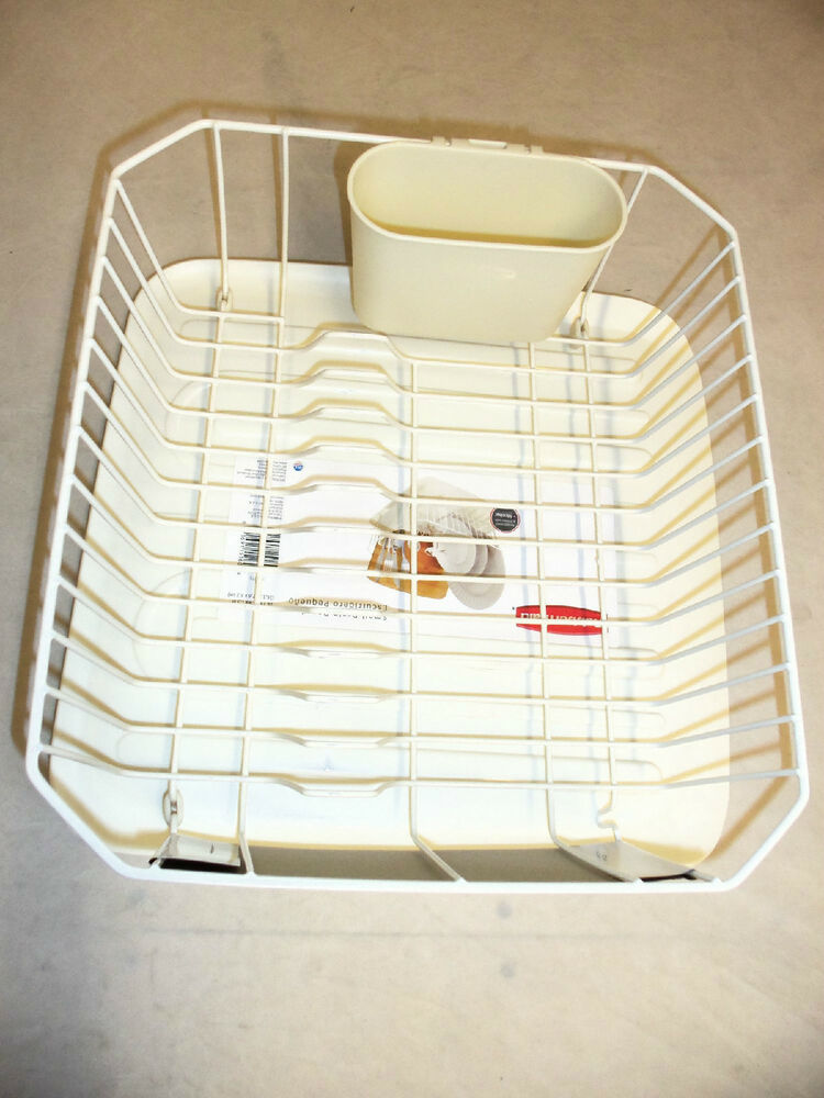 Rubbermaid small sink 6008 1180 dish drainer and tray board set bisque new ebay - Dish racks for small spaces set ...