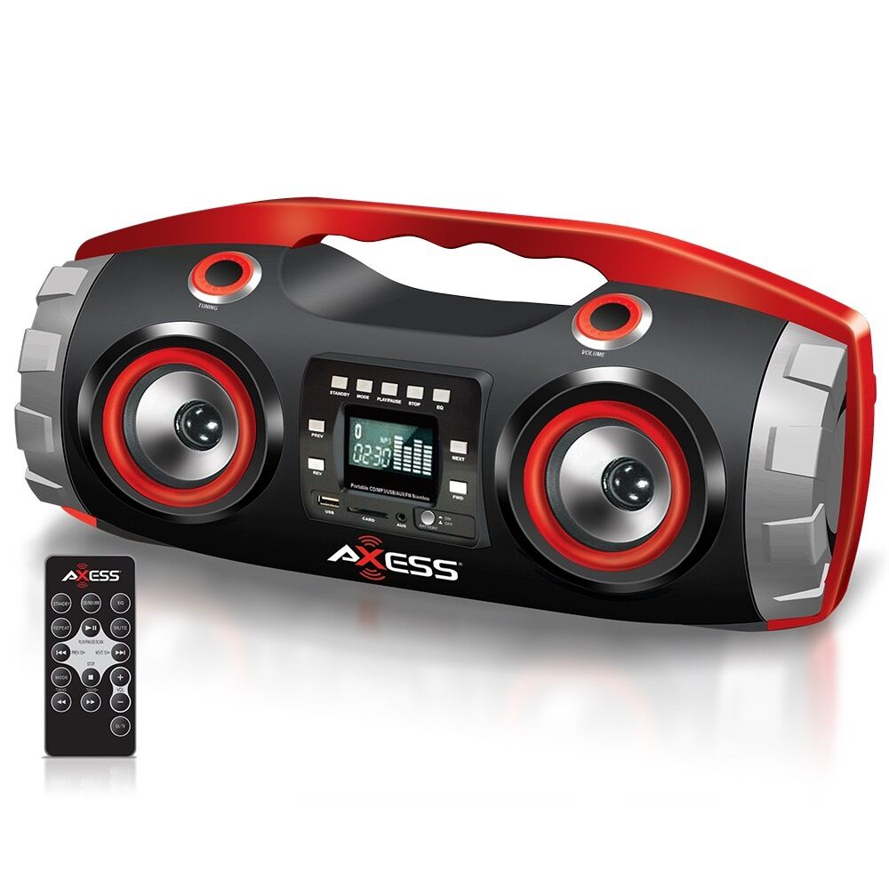 bluetooth portable stereo boombox cd mp3 player remote. Black Bedroom Furniture Sets. Home Design Ideas