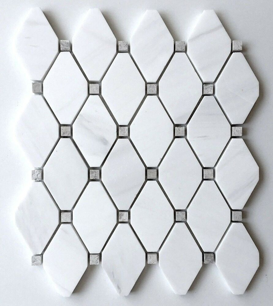 Dolomite White With Gray Marble Dots Rhomboid Floor Mosaic
