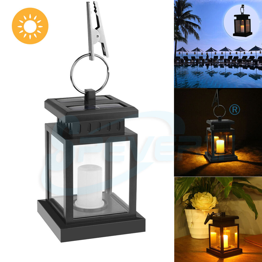 Patio Table Lights Uk: Outdoor Solar Powered LED Candle Table Lantern Light