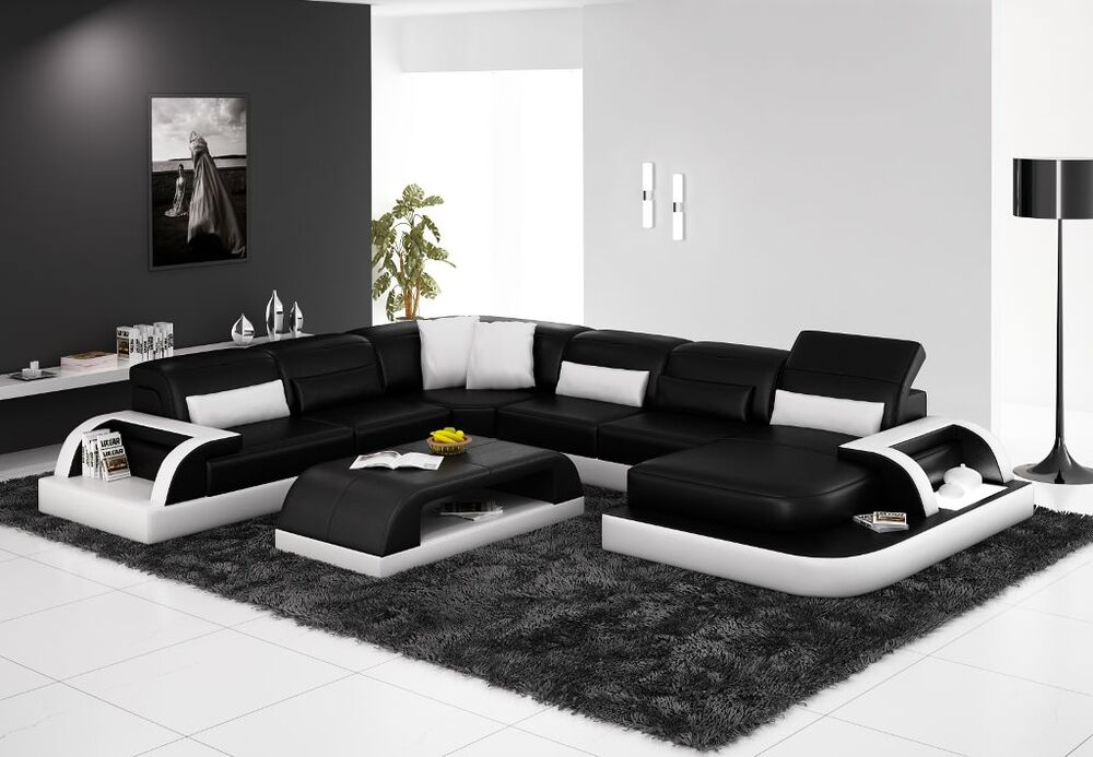 Modern Large LEATHER SOFA Corner Suite Black Modular ...