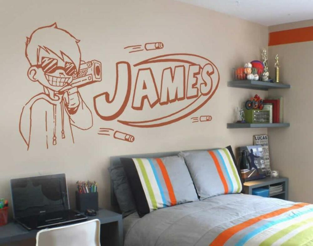 nerf guy with name wall sticker wall chick decal art sticker quote