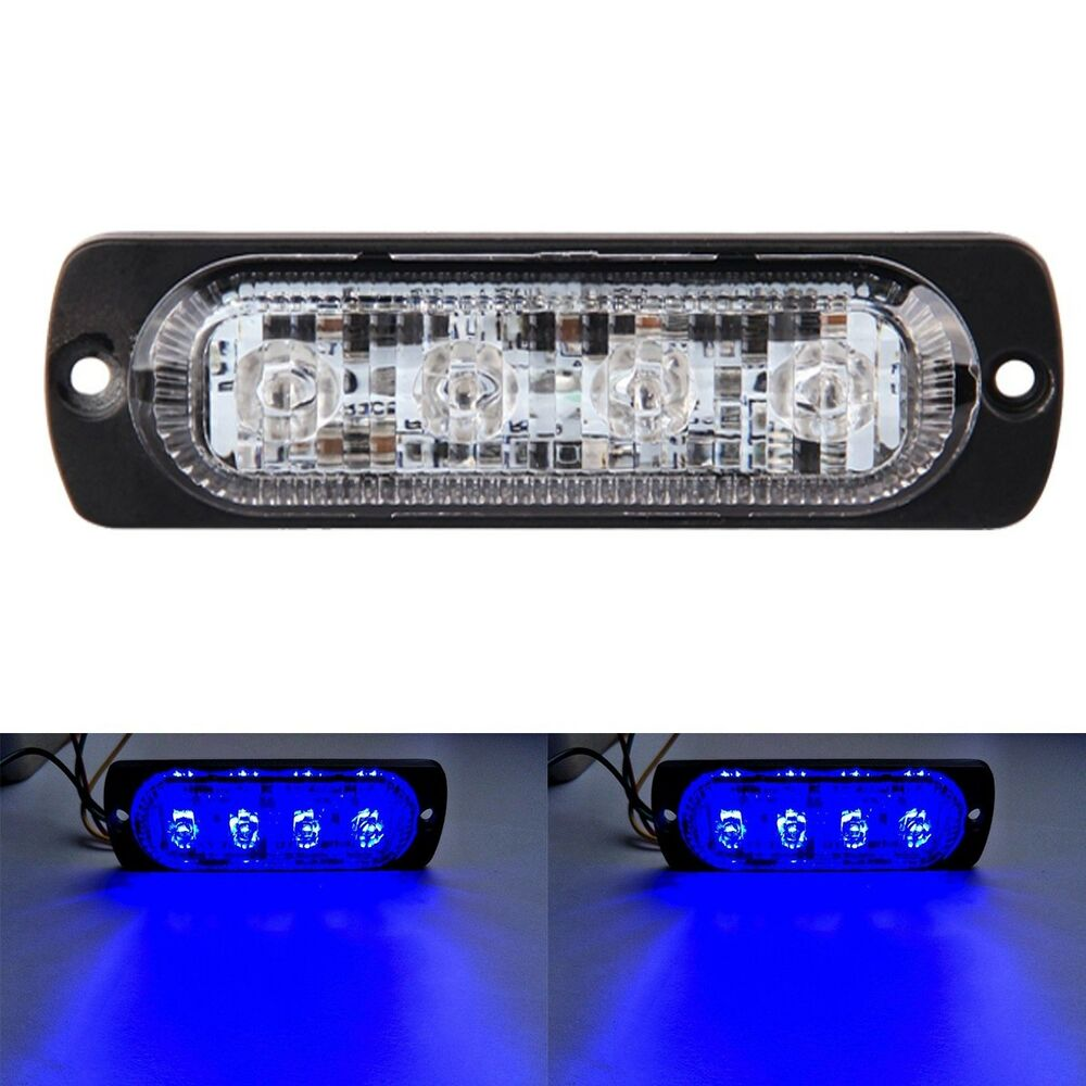 2W Blue 4-LED Car Truck Flash Led Emergency Hazard Warning