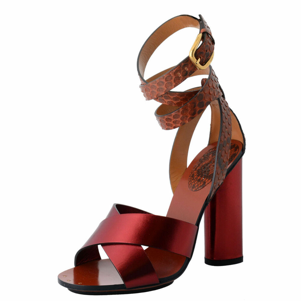 9aee48436877 Details about NIB GUCCI  1195 GENUINE PYTHON LEATHER SANDALS SHOES EU 37.5  US 7.5 ITALY