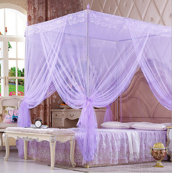 purple lace 4 corners post bed canopy mosquito netting for twin full queen size ebay. Black Bedroom Furniture Sets. Home Design Ideas