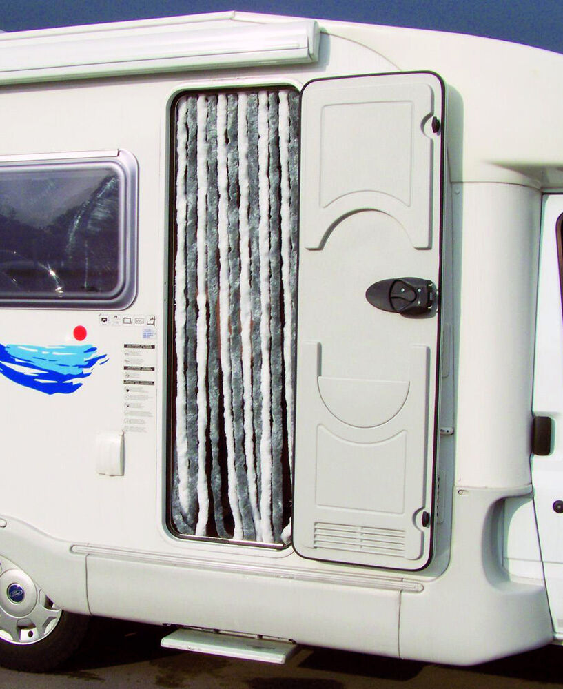 Chenille Door Curtain Fly Screen Motorhome Caravan Silver White Vc47nc0201 Ebay