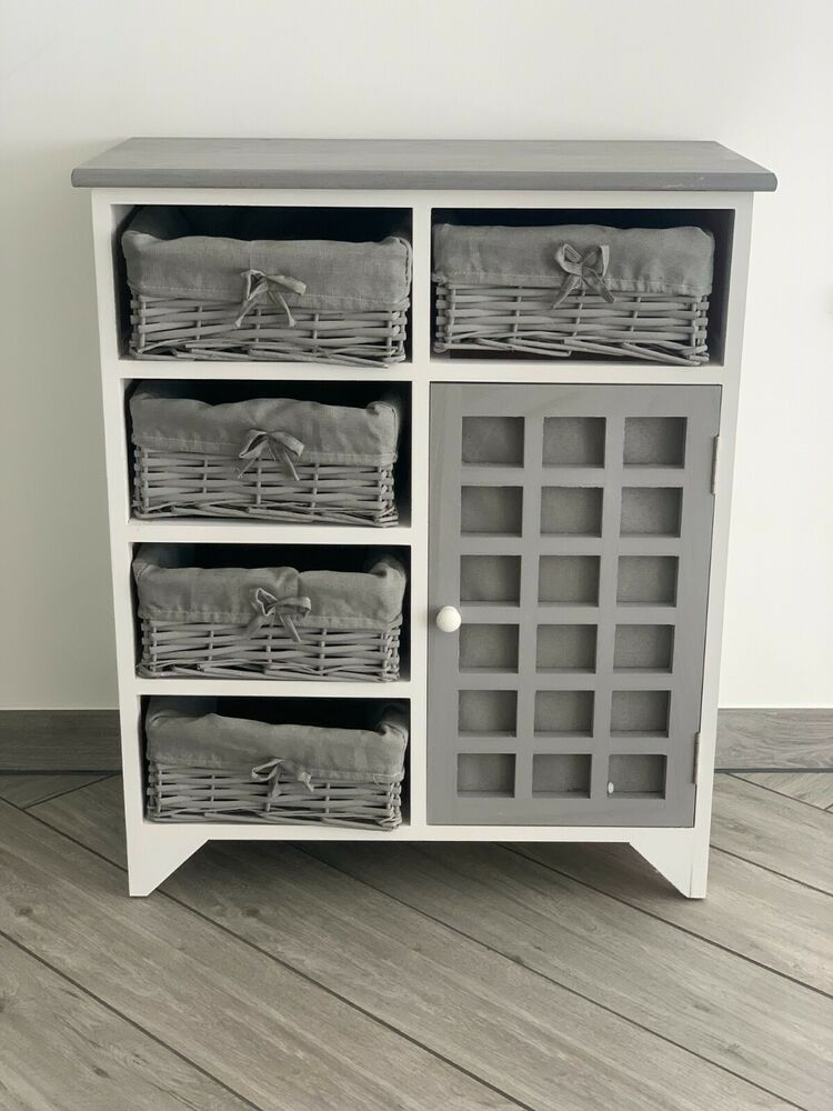 Grey White Chest Drawers Storage Cabinet Wicker Baskets