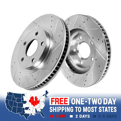 Front Drilled & Slotted Brake Rotors For 2015 Ford Mustang GT Brembo Pkg S550