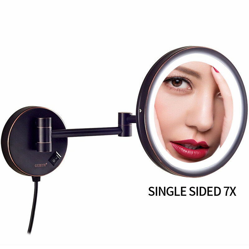 Gurun 7x Magnifying Lighted Makeup Mirror With Black Power