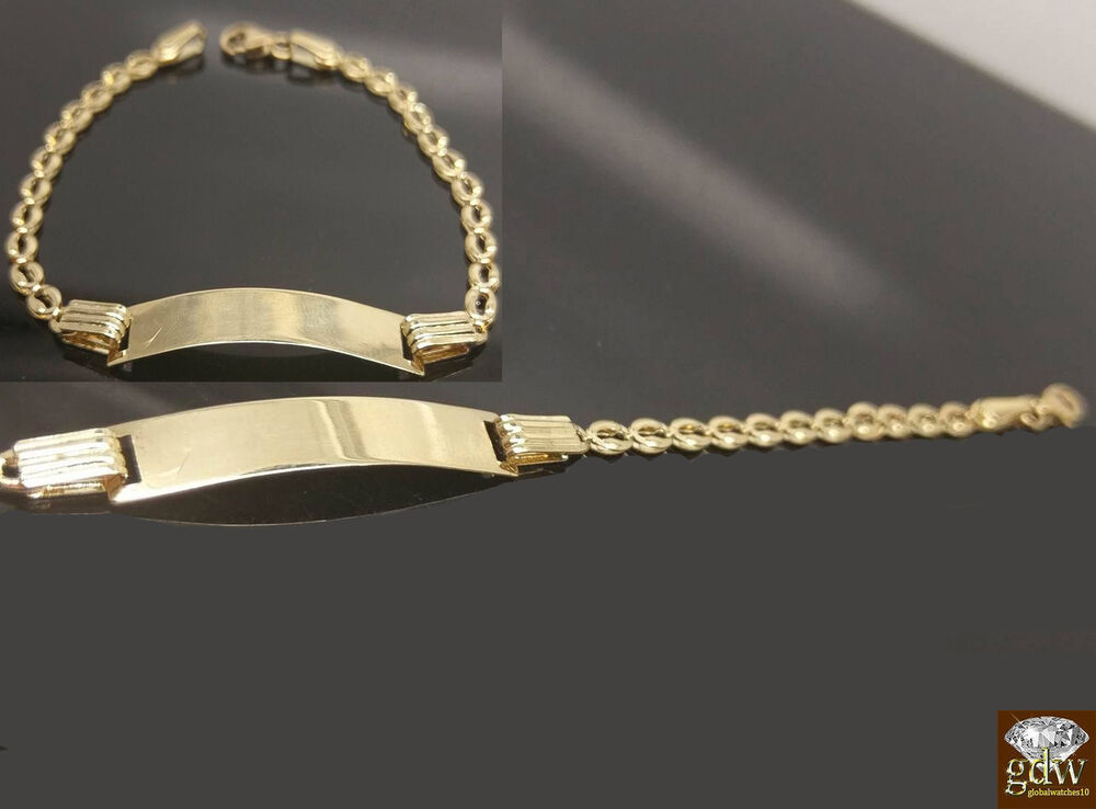 14k Yellow Gold Baby Id Cuban Link Bracelet 6 Inches