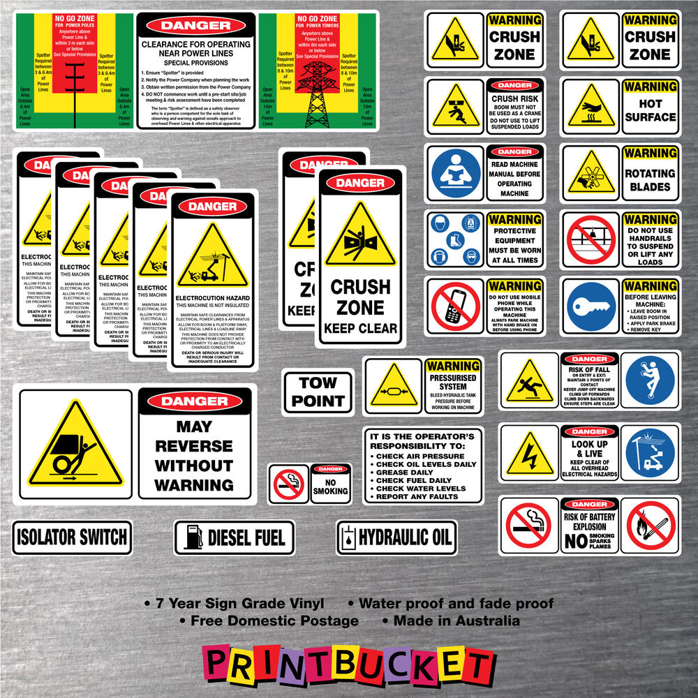 Details about ewp scissor boom lift risk assessment safety stickers full kit 27 piece