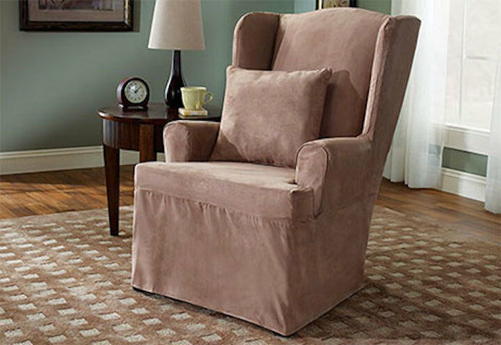 Wing Chair Soft Suede Slipcover Sable Slipcover One Piece