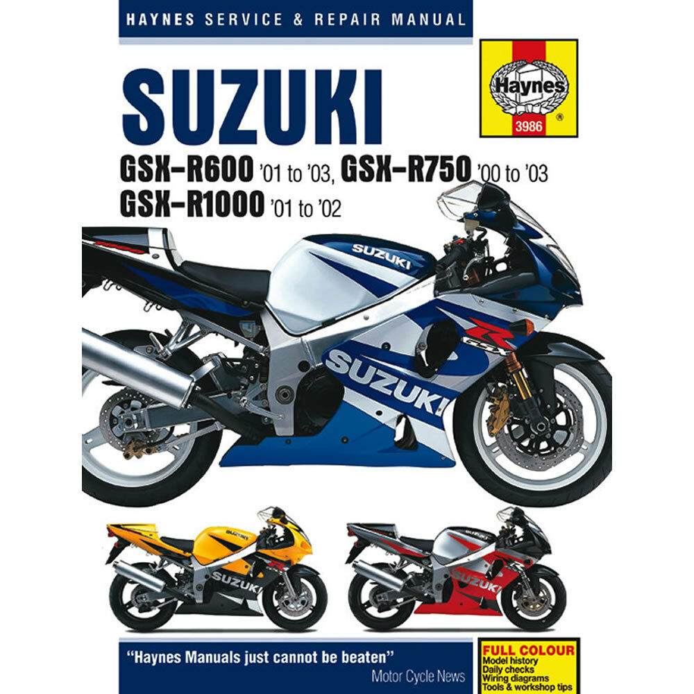 Suzuki GSX-R600 01-03 GSX-R750 00-03 GSX-R1000 01-02 Haynes Workshop Manual  699414003921 | eBay