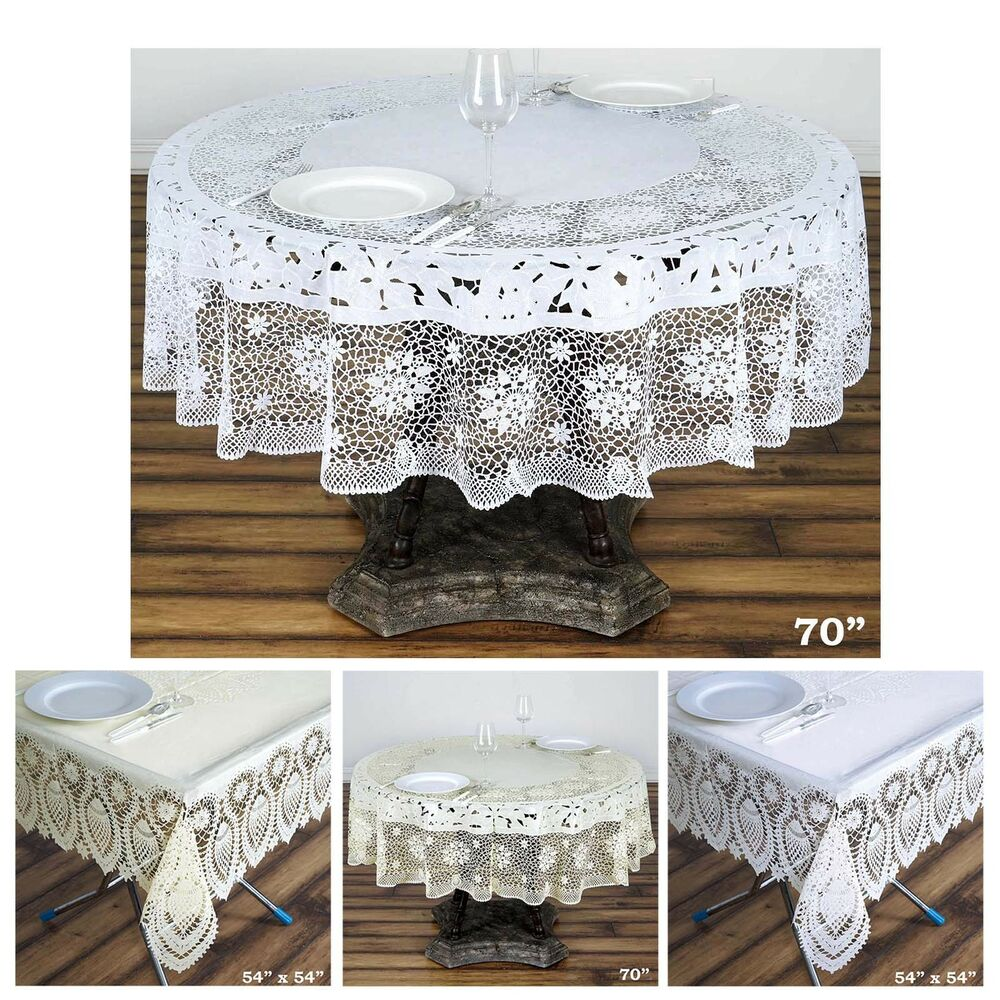 0 6 Mil Thick Lace Vinyl Eco Friendly Round Tablecloth
