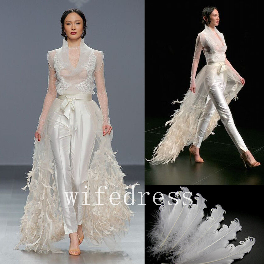 027b49788e Details about White Ivory Over Skirt Long Evening Dresses Feathers Train  For Gowns Custom Made