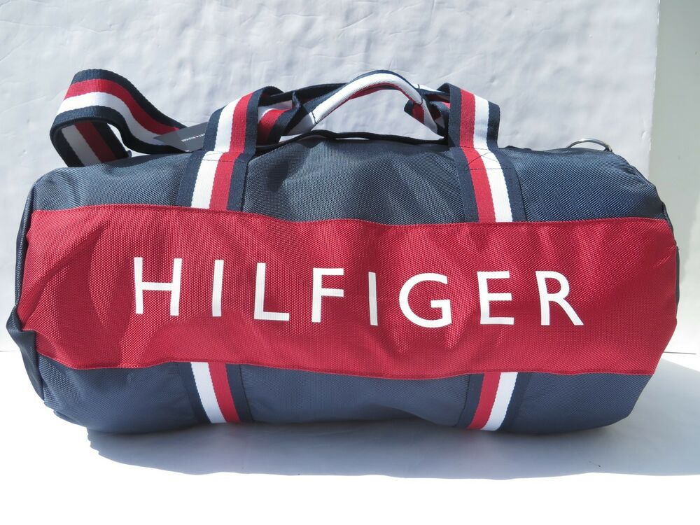 0b187bc96649b8 Details about Tommy Hilfiger Large Gym Bag Duffle Travel women men handbag  Navy Blue NEW NWT