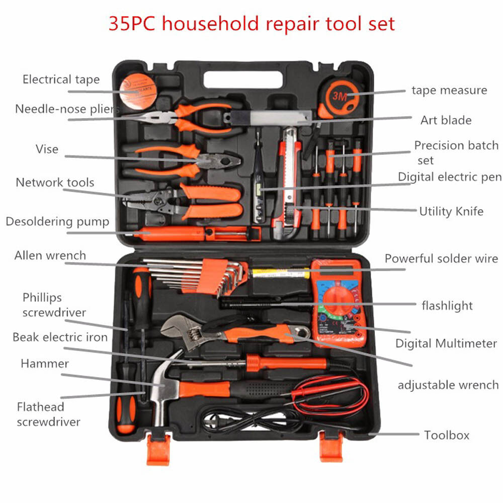 35pc electrician 39 s tools set home commercial electric. Black Bedroom Furniture Sets. Home Design Ideas