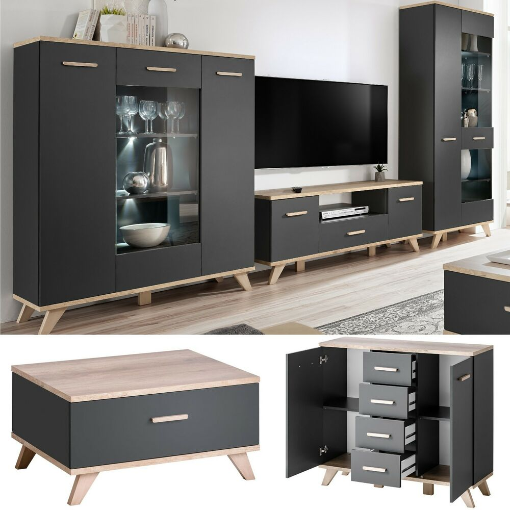 Media Entertainment Center Wall Unit Tv Stand Led Modern Living Room Furniture Ebay
